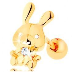 Šperky eshop - Piercing do ucha zo žltého 14K zlata - ligotavý zajačik s čírym zirkónom GG115.08
