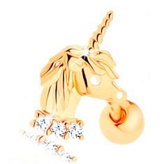 Šperky eshop - Piercing do ucha v žltom 14K zlate - jednorožec, línia čírych zirkónikov GG115.09