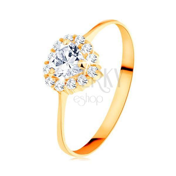 Zlatý prsteň 585 - číre zirkónové srdiečko s trblietavým okrajom