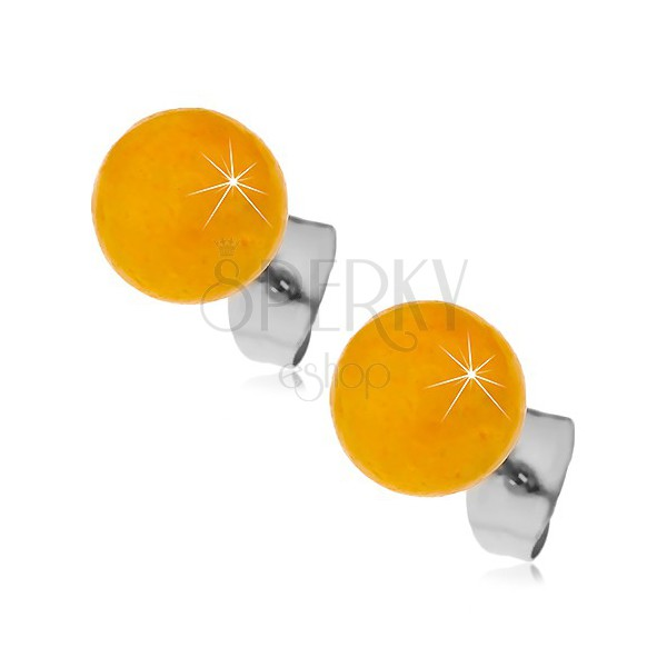 Oceľové puzetové náušnice, žltooranžové guličky, 8 mm
