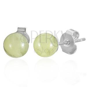 Oceľové náušnice jantárové guličky žlté 6 mm