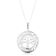 Šperky eshop - Náhrdelník zo striebra 925, prívesok na retiazke - vyrezávaný kruh, košatý strom AC16.15