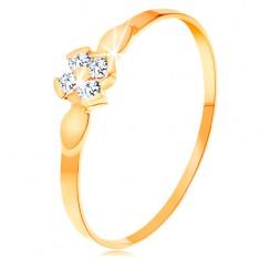 Prsteň v žltom 14K zlate - kvet zo štyroch čírych zirkónov, lesklé lístky