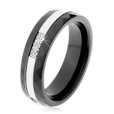Prsteň z čiernej keramiky s brúseným povrchom, tenký oceľový pás, zirkóny