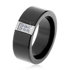 Čierny keramický prsteň s hladkým povrchom, oceľový obdĺžnik so zirkónmi