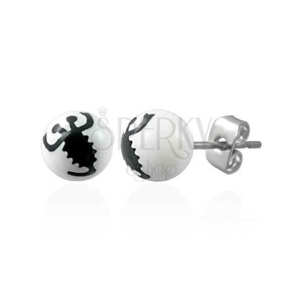 Náušnice z ocele biele guličky - znak čierny škorpión