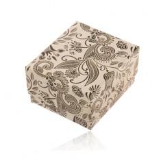 Béžovo-čierna darčeková krabička na prsteň alebo náušnice, motív kvetov