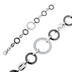 Náramok z čiernych keramických kruhov a oceľových článkov, číre zirkóny