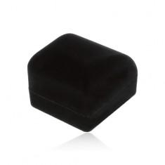 Zamatová krabička na prsteň, prívesok alebo náušnice, čierna farba