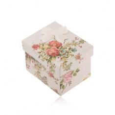 Darčeková krabička na prsteň, náušnice alebo prívesok, farebné kvety, mašľa