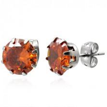 Oceľové náušnice s oranžovým kameňom 8 mm