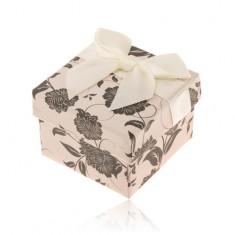 Papierová krabička na prsteň alebo náušnice, béžovo-čierna s motívom kvetov