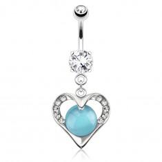 Piercing do pupka z ocele 316L, strieborná farba, obrys srdca s modrým kameňom