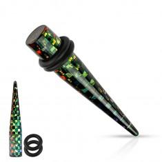 Čierny akrylový taper do ucha, štvorčeky v dúhových farbách, rôzne veľkosti