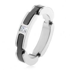 Oceľový prsteň striebornej farby, výrezy s keramickými pásmi, číry zirkón