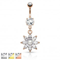 Oceľový piercing do pupku, trblietavý zirkónový kvet čírej farby, perlička