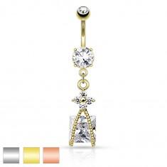Oceľový piercing do bruška, trblietavý kvietok čírej farby, zirkónový štvorec