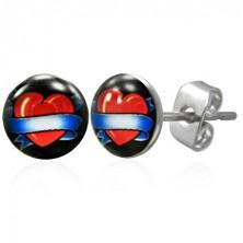 Oceľové náušnice z chirurgickej ocele srdce so stuhou