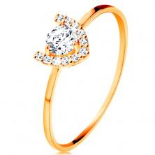 Prsteň v žltom 14K zlate - trblietavá podkova, veľký okrúhly zirkón
