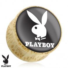 Sedlový plug do ucha z prírodného dreva, zajačik Playboy, čierny podklad