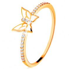 Prsteň zo žltého 14K zlata - trblietavé línie, biely glazúrovaný motýľ