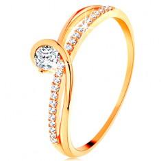 Zlatý prsteň 585 s rozdelenými prepletenými ramenami, číry zirkón