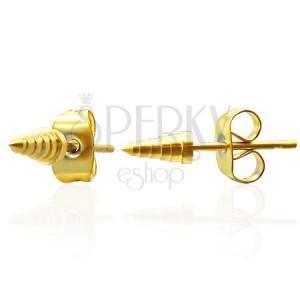 Náušnice z ocele - špice zlatej farby