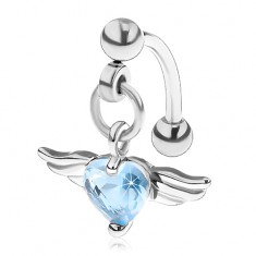 Piercing do obočia z ocele 316L, srdce z modrého zirkónu, anjelské krídla