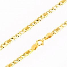 Šperky eshop - Zlatá retiazka 375, tri oválne očká a jedno dlhšie s mriežkou, 535 mm GG100.09