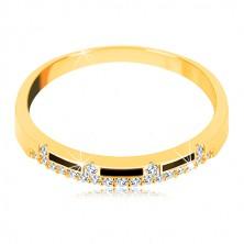 Prsteň zo žltého 14K zlata - pásy čiernej glazúry, číra zirkónová línia