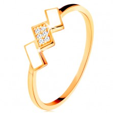 Zlatý prsteň 585 - šikmé obdĺžniky pokryté bielou glazúrou a zirkónmi