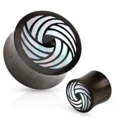 Čierny drevený plug, sedlový, zahnuté línie z perlete bielej farby