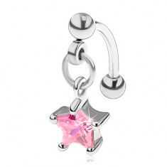 Piercing do obočia z chirurgickej ocele, zirkónová hviezdička ružovej farby