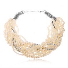 Masívny náhrdelník z bielych perličiek rôznych veľkostí a čírych zirkónov