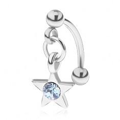 Oceľový piercing do obočia, päťcípa hviezdička, okrúhly modrý zirkónik