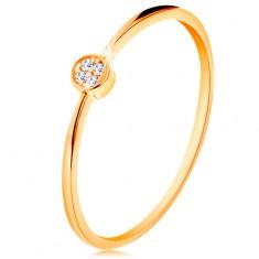 Prsteň v žltom zlate 585 - kruh vykladaný okrúhlymi zirkónmi čírej farby