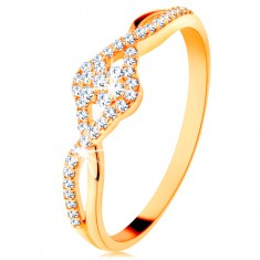 Zlatý prsteň 585 - prepletené rozdvojené ramená, číry zirkónový kvietok