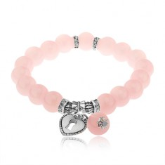 Elastický náramok na ruku, lesklé ružové guličky, oceľové korálky, kladka