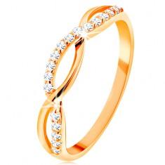Prsteň zo žltého 14K zlata - prepletené vlnky - hladká a zirkónová