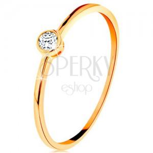 Prsteň v žltom zlate 585 - okrúhly číry zirkón v lesklej objímke