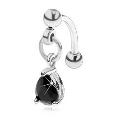 Oceľový piercing do obočia s príveskom, brúsená kvapka čiernej farby
