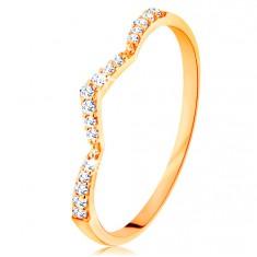 Prsteň zo žltého 14K zlata - trblietavý pás, jemne zalomený do špica