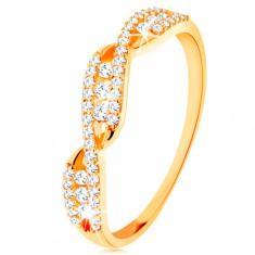 Zlatý prsteň 585 - prepletené zvlnené ramená, okrúhle číre zirkóny