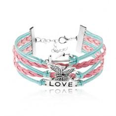 Šnúrkový náramok, modrá a ružová farba, kotva, motýľ, známka s nápisom