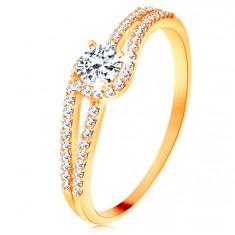 Zlatý prsteň 585 s rozdelenými trblietavými ramenami, číry zirkón