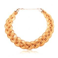 Náhrdelník zo zapletených retiazok a šnúrok v zlatom odtieni, karabínka