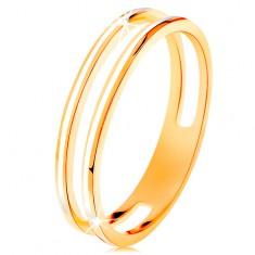 Prsteň v žltom zlate 585, dve úzke obruče zdobené bielou glazúrou
