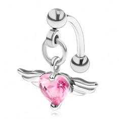Piercing do obočia z chirurgickej ocele, ružové srdce s anjelskými krídlami