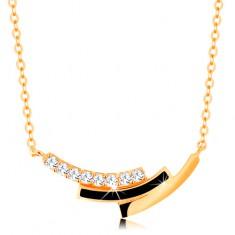 Šperky eshop - Náhrdelník zo žltého zlata 585 - zirkónový, čierny a hladký oblúk GG138.17