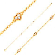 Šperky eshop - Zlatý náramok 585 s oválnymi očkami a tromi ligotavými srdiečkami GG137.15